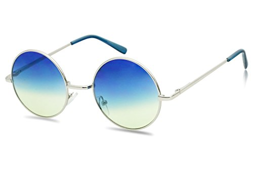 Sunglass Stop - Small Retro Vintage Lennon Style Round Thin Circle Metal Color Tint Sunglasses (Blue - Blue Color Lens