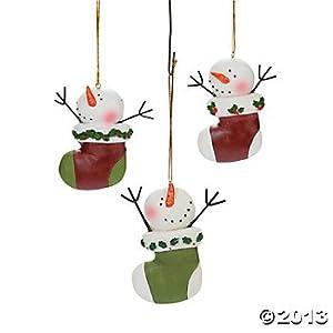 Fun Express Snowman Stocking Ornaments (1 Dozen) Christmas – Home Decor – Ornaments – Snowman – Christmas – 12 Pieces
