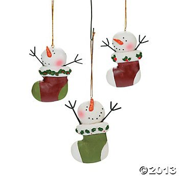 Snowman Stocking Ornaments (12 Ornaments per Order) Resin/Christmas/Tree/Winter Holiday