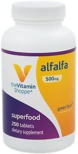 The Vitamin Shoppe Alfalfa 500 MG Natural Green Food Supplement, Nature s Superfood Antioxidant Green Superfood 250 Tablets