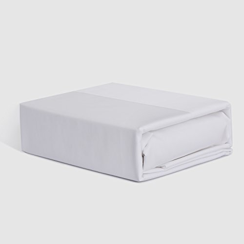 Bed Sheet Set - 350 Thread Count - 100% Cotton Percale - 4 Pieces - King Bright White (For Bunk Bed Tent Universal)