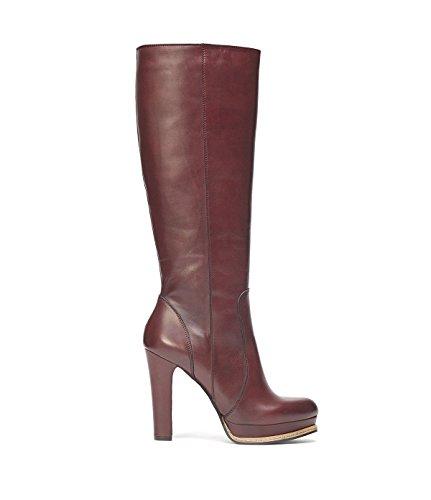 Et Bloc Haut forme Elva Bottes Lisse Femmes Pointu Poilei Plate Bordeaux Rouge Genou Chaussures Talon En Brillante Et Cuir Bout Haut AR7wwnTxO