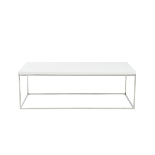 Euro Style Teresa Rectangular Lacquer Top Coffee Table, White with Polished Stainless Steel