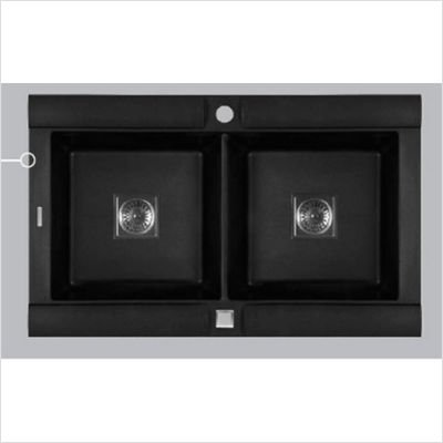 Astracast GE20RZUSSK Geo Double Bowl Kitchen Sink, Metallic Black