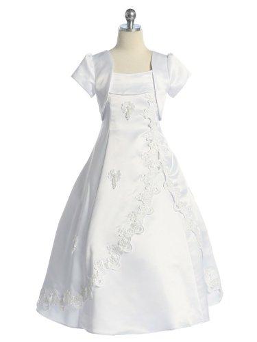 Chic Baby Girls TuliP Skirt Commuion Flower girl Commuion Dress with Bolero, White, 16 (Commuion Dresses)