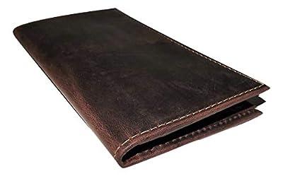 Rugged Gaucho Men's Vintage Leather Breast Pocket Secretary ID Wallet Walnut