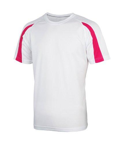 AWDis Herren T-Shirt Weiß Arctic White / Hot Pink