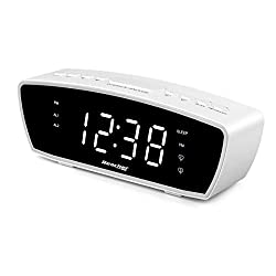 Reacher Modern Dual Alarm Clock Radio with Adjustable Alarm Volume for Heavy and Light Sleepers, USB Phone Charger Port, Sleep Timer, Dimmer, Snooze for Bedrooms Bedside (White)