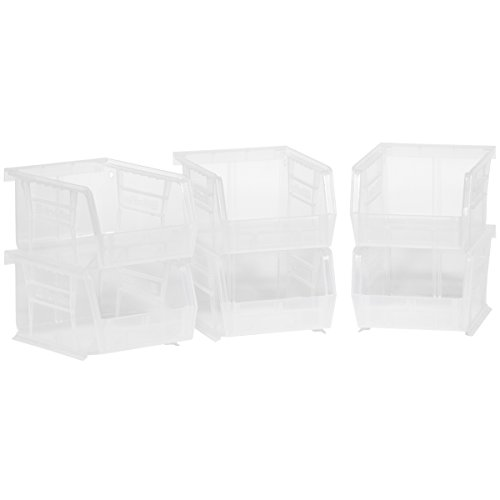 Akro-Mils 08212Sclar 30210 Plastic Storage Stacking AkroBins for Craft and Hardware (6 Pack), Clear by Akro-Mils