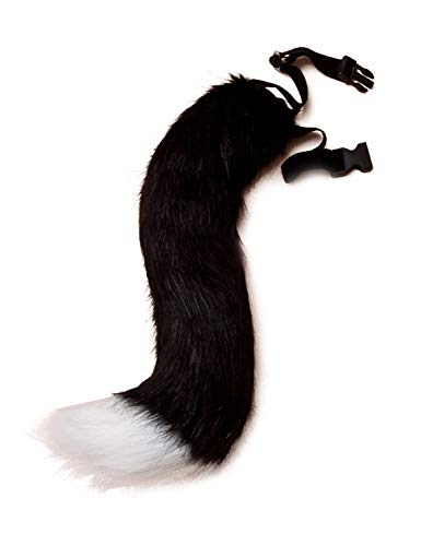 DRESHOW Faux Fur Fox Tail Costume Halloween Cosplay Party, Black & White, One Size