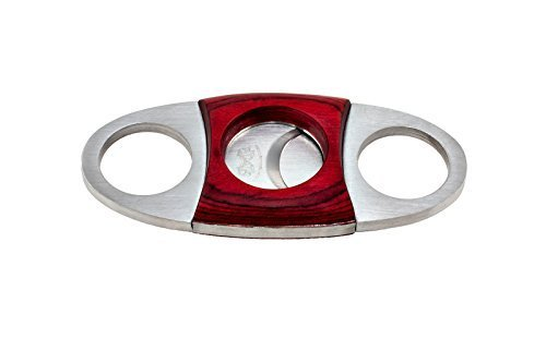 (DOS CABALLOS CIGARS RED WOOD VEE HANDLE STAINLESS STEEL CIGAR CUTTER WITH SELF SHARPENING)