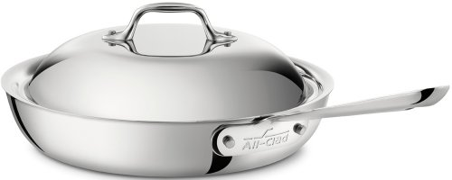 All-Clad 41117 Stainless Steel Tri-Ply Bonded Dishwasher Safe French Skillet with Domed Lid / Cookware, 11-Inch, Silver by All-Clad