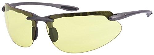 Edge I-Wear Men's Wraparound Night Driving Yellow Lens Sunlgasses - Sunlgasses