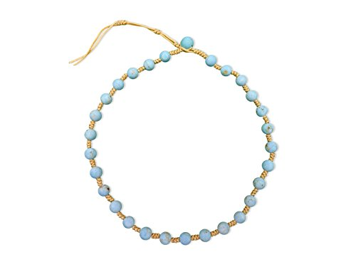 MGR Genuine Blue Magnesite Stone Hand Beaded Tied Re-sizable Light Weight Dainty Choker Necklace. Blue Magnesite