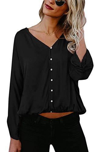 Fille Manches Mode Classique Shirt Printemps Taille V Bouffant Haut Simple Cou Tops Noir Unie Automne Grande Femme Couleur Elgante Longues Blouse Chemisier Boutonnage Casual CB5BfP