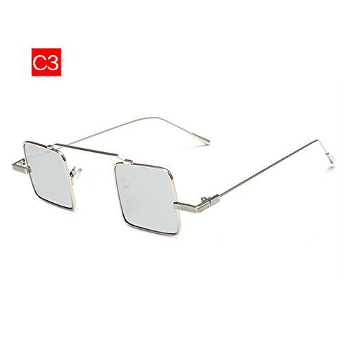 Gafas Diseñador De De Mujer C3 Sol KLXEB De Vintage Marco Metal Gafas Sol Cuadrado Hombres Reflectante Marca Pequeño Mujeres Gafas C5 De xwCZY