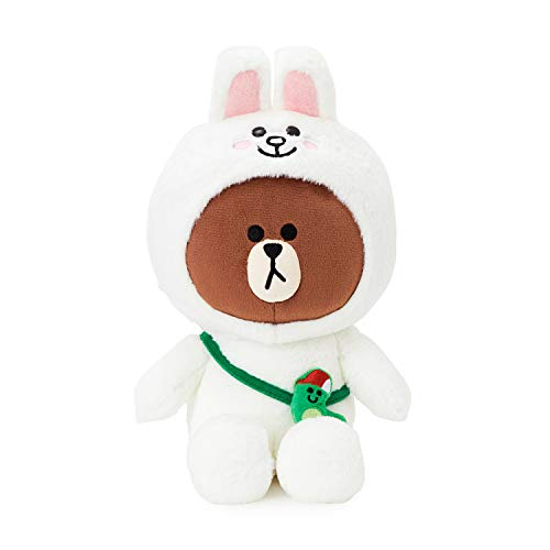 LINE FRIENDS Plush Standing Doll - Brown in CONY Character Costume Soft Toy Figure 10 Inches, White/Brown