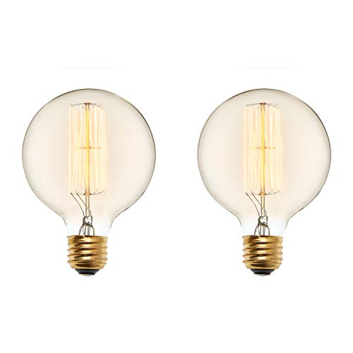- 40W Edison Globe Light Bulbs - G40 Oversized Vintage Filament Bulb, E26 Base, Fully Dimmable, Warm White, Incandescent, Bedford Collection, Set of 2