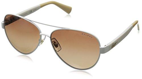 Ralph by Ralph Lauren Women's 0RA4114 Polarized Round Sunglasses, White,Brown & Gradient White, 58 mm