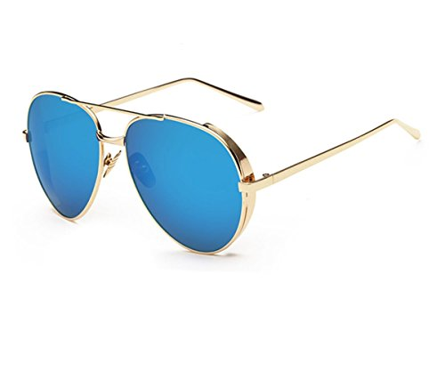 Konalla Aviator Flash Lenses Full Metal Frame Sunglasses for Womens - Singapore Oakley Lens