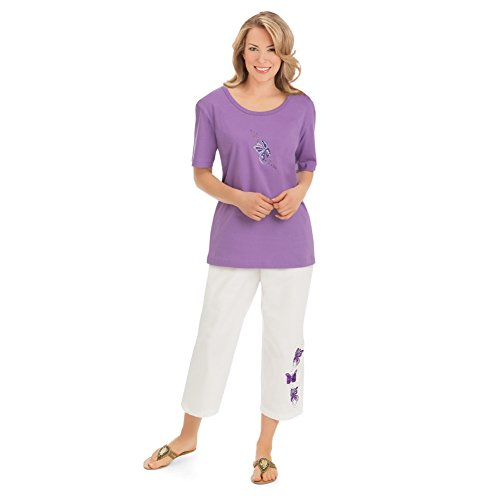 Womens Embroidered Butterfly Capri Plus Size