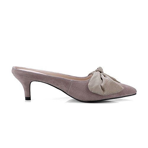 Lotus Mules Elegant Root Color Toe Suede Pointed Leather Shallow Woman Prom Bowknot Baolustre wvqRx4BnW