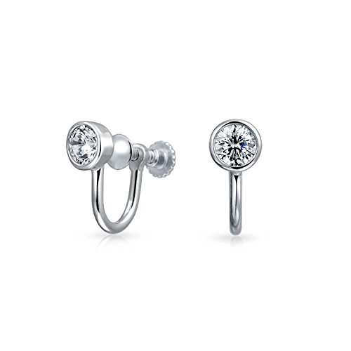 Bling Jewelry 925 Silver 3.5mm CZ Bezel Round Screw Back Clip On Earrings