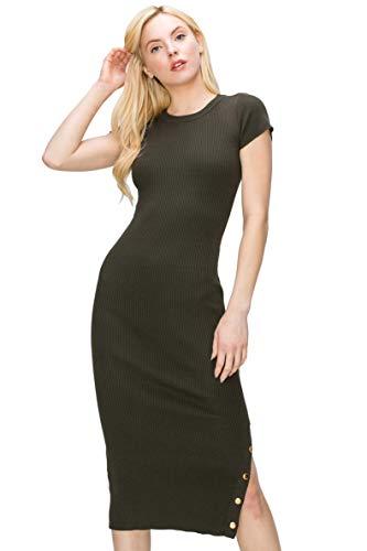 Monologue Apparel Women's Short Sleeve Casual Midi Bodycon Ribbed Snap Side Slit Dress (Olive, Medium)