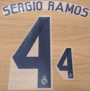 2d1deaada7e SERGIO RAMOS 4 - REAL MADRID 2014 2015 HOME FOOTBALL NAME NUMBER SET NAMESET  KIT PRINT  Amazon.co.uk  Sports   Outdoors