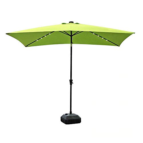 COBANA 9.8′ by 6.6′ 22 Solar Powered LED Lighted Outdoor Table Umbrella Aluminum Patio Umbrella,Lime Green