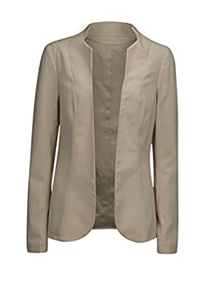 Charles Richards Women's Beige Stand Collar Long Sleeve Open Front Casual Office Blazer,Small