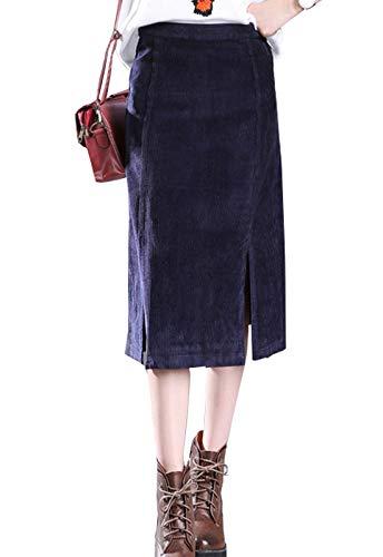 Flygo Faldas largas de Pana con Cierre en Forma de A para Mujer con  Abertura Lateral 976f5d0d978f