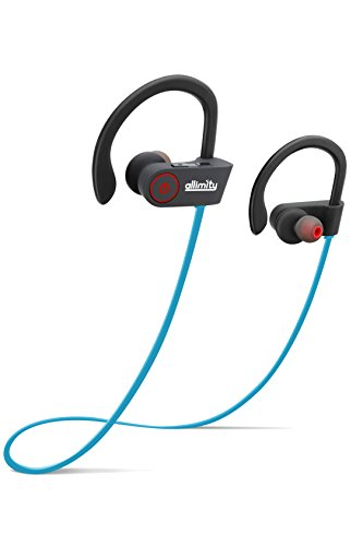 ALLIMITY Bluetooth Headphones Wireless In-Ear Earbuds Noise Cancelling Sweatproof Sports Headset with Mic for iPhone iPad Samsung Sony LG Smartphone Watches, Blue