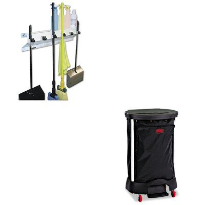 KITEXC3336WHT2RCP6350BLA - Value Kit - Linen Hamper Bag, 30 Gallon (RCP6350BLA) and Ex-cell The Clincher Mop amp;amp; Broom Holder ()