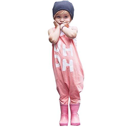 Emimarol Summer Toddler Baby Boys&Girls Sleeveless Letter Print Backless Jumpsuit Romper Pink