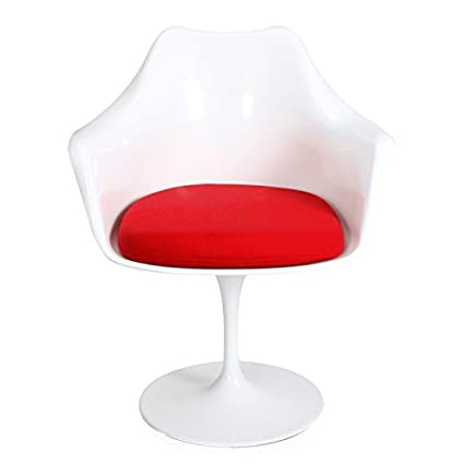 ELEGAN Modern Chaise Tulip Dining Lippa Pedestal Swivel Chair With Cloth  Cushion U0026 Armrest (Red