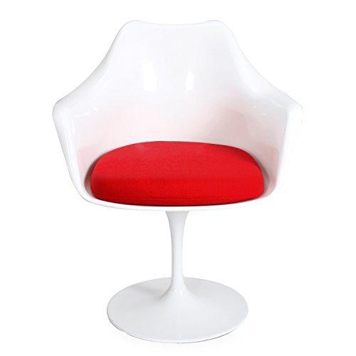 ELEGAN Modern Chaise Tulip Dining Lippa Pedestal Swivel Chair with Cloth Cushion & Armrest (Red)