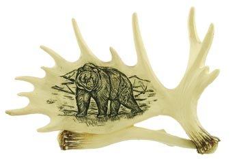 Bear Imprint on Moose Antler, Collectible Sculpture Figure, 6.5-inch (Carved Antlers Moose)