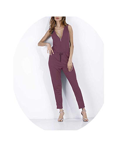 (Brittany-Breanna Sexy Sleeveless Jumpsuit Women Long Romper Summer Bodysuit Trousers Beach Jumpsuit Coveralls,Purple)
