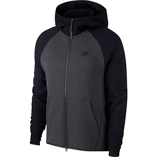 (NIKE Mens Tech Fleece Full Zip Hoodie Sweatshirt Anthracite/Black 928483-060 Size Large)