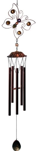 34 Inch Metal Wire Butterfly Outline with Beads Wind Chime, Copper