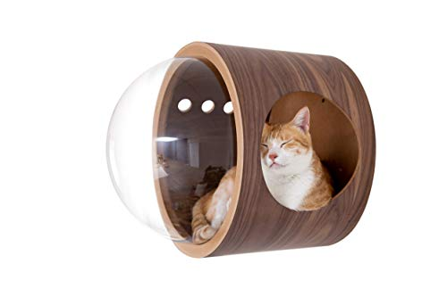 MYZOO Spaceship Gamma, Pet Bed for Cat & Dog, Window Perch, Cat Tree, Made of Wood (Walnut, Open Right)