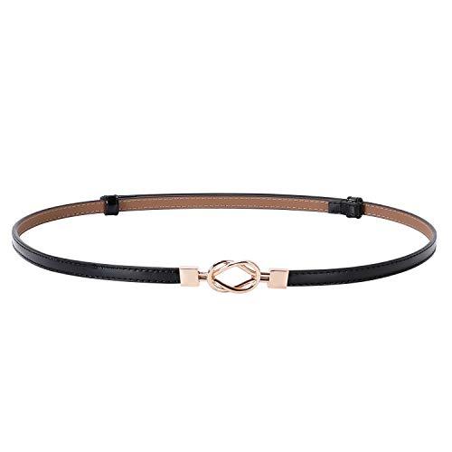 Women Vintage Skinny Leather Belt for Dress/Blouse, Adjustable Waistband fit 23-40inch (00 Black)