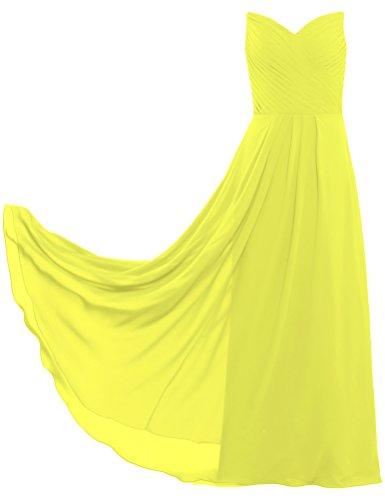 Longues Robes De Mousseline Plissées De Fourmis Pour Femmes Jaune Fête D'invité De Mariage