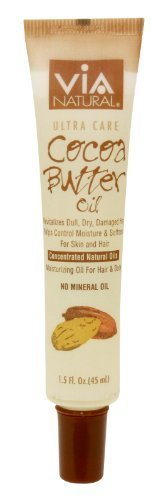 VIA Natural Ultra Care Cocoa Butter Oil Concentrated Natural Oil 1.5oz - Revitalizes Dull, Dry, Damaged Hair Helps Control Moisture & Softness For Skin and Hair - 3 Pack