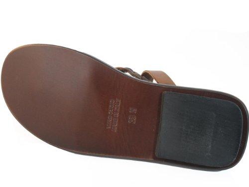 Mens Davinci Italiaanse Geweven Lederen Neus Sandalen 1233 Bruin
