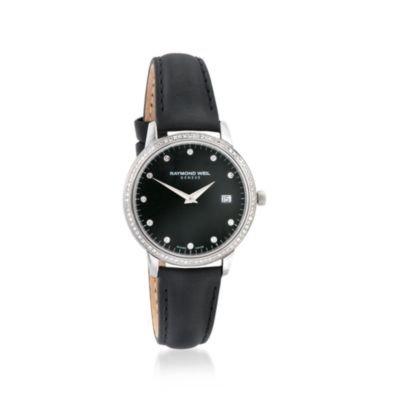 Raymond Weil Black Wrist Watch (Raymond Weil Toccata Black Dial Diamond Black Leather Ladies Watch)