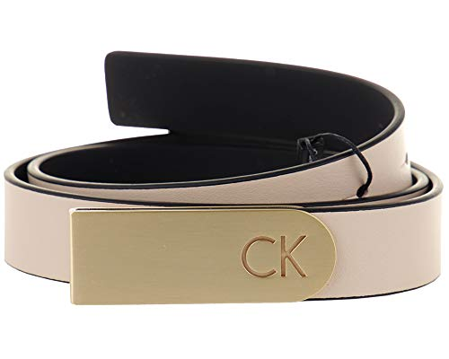 Curved Plaque Calvin 85 Belt Leather Klein Woman beige Black Buckle 4SSEq5xw