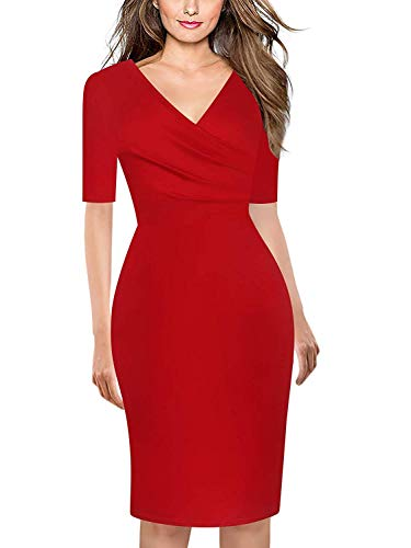 (Women's Summer Casual Dress V-Neck Short Sleeve Long Skirts Work Business Sheath Pencil Dress Red)