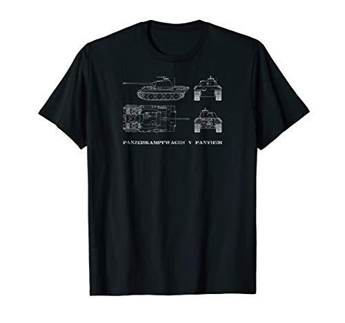 Panzer V Panther Tank Tshirt Gift German Army Blueprint WWII